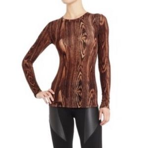 BCBGMAXAZRIA Agda wood-grain print longsleeve top
